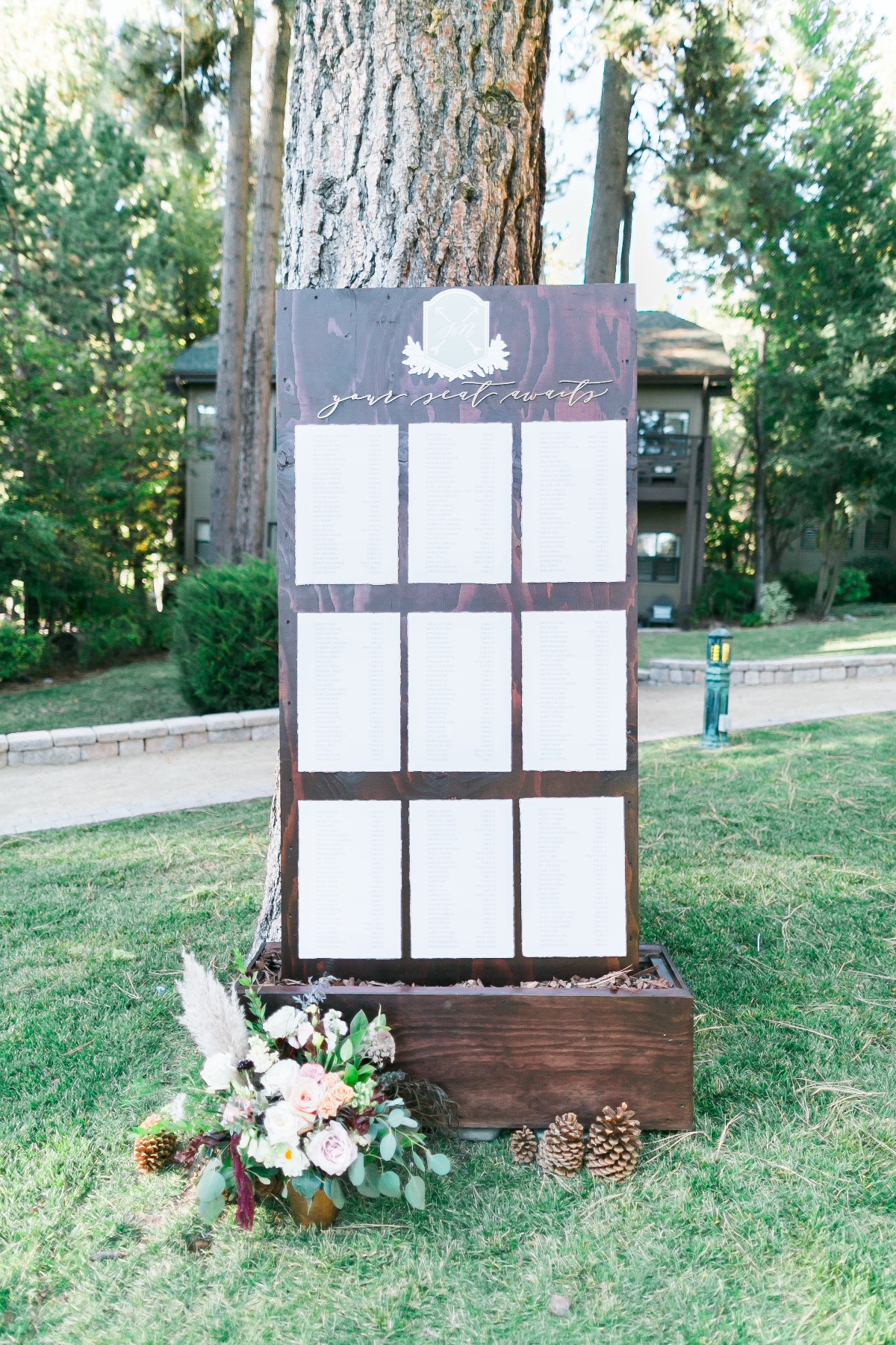 wooden wedding seating assignment display