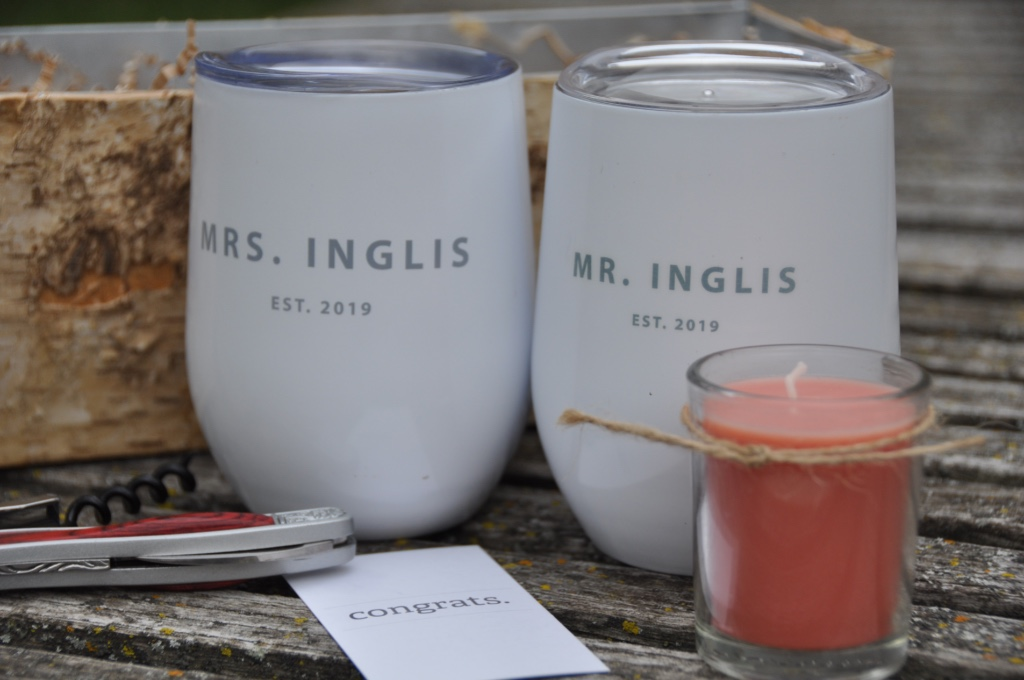 There is nothing better than Mr and Mrs matching wine tumblers...perfect for the day of your wedding, a walk through the woods, a romantic