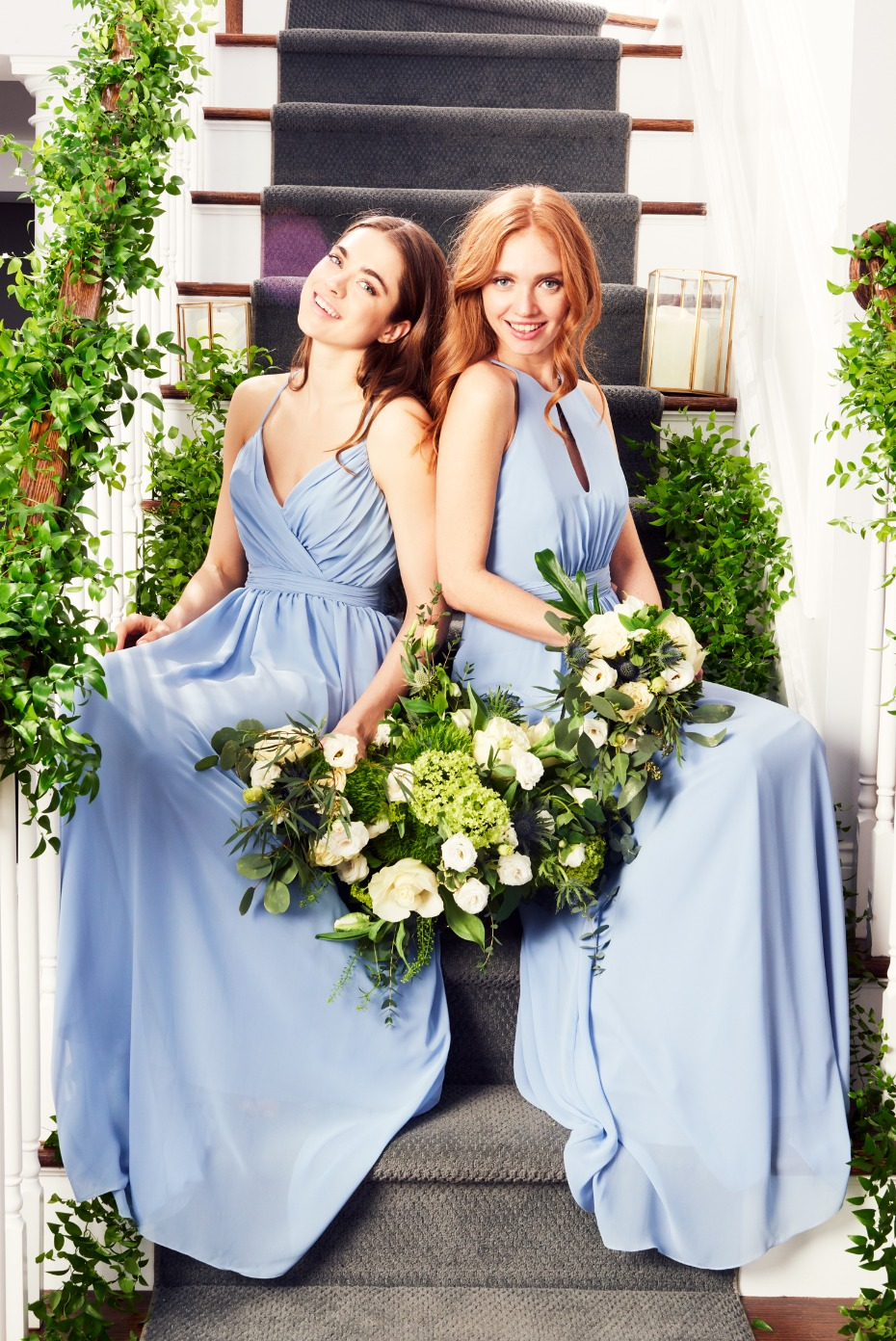 Khloe Jaymes Bridesmaids Dresses Dark Powder Blue