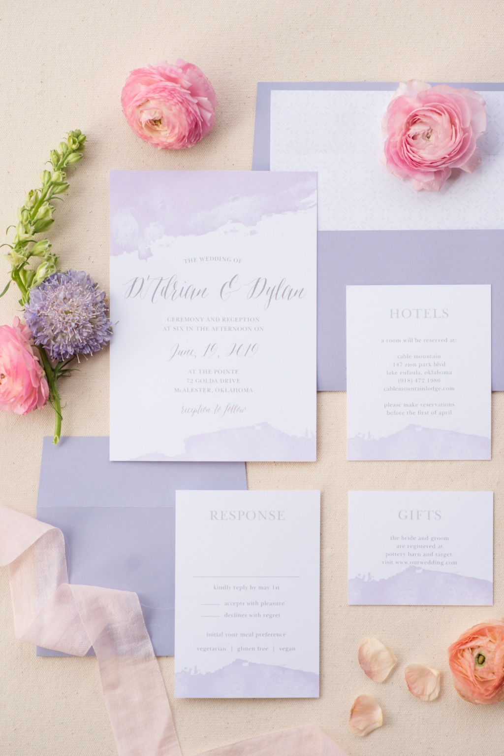 Our trendy Dip Dye Wedding Invitation Suite can be customized with our 180+ colors to fit any bride's vibe!