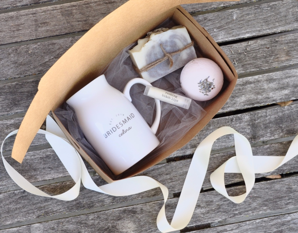Bridesmaid gifts that are perfect for a cozy winter wedding...only at Inkt and co. A personalized ceramic milk mug, artisan cold-processed
