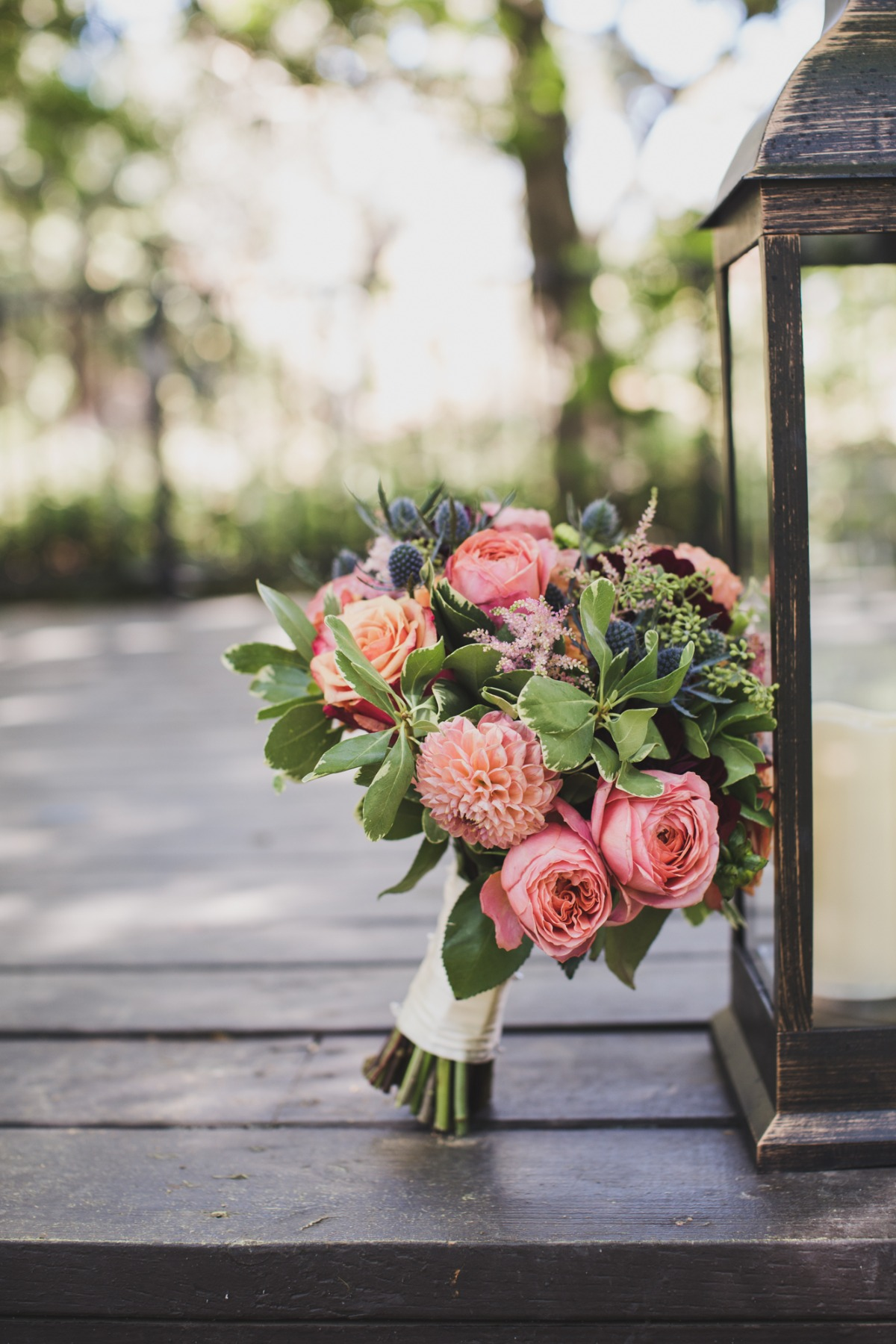 pink and thistle wedding bouquet