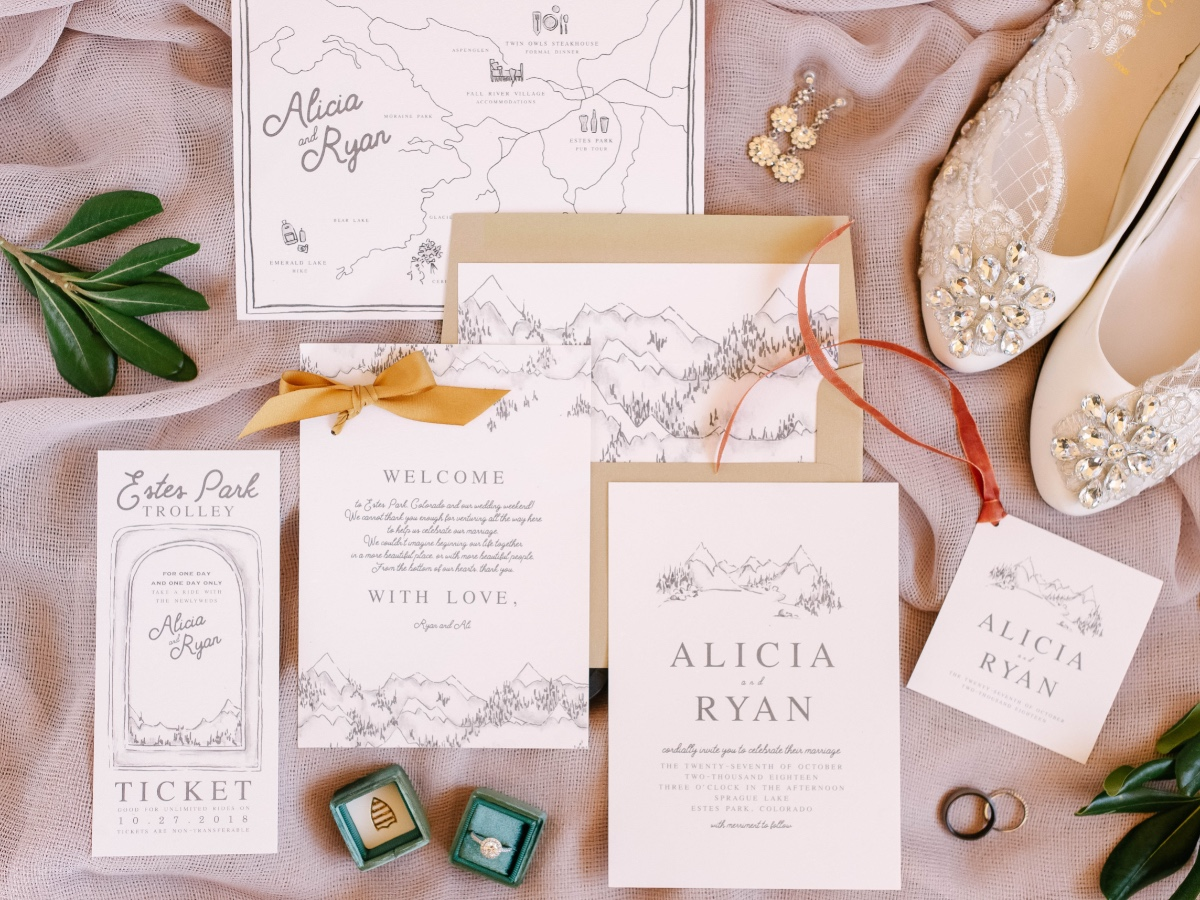 mountain themed wedding invitation suite