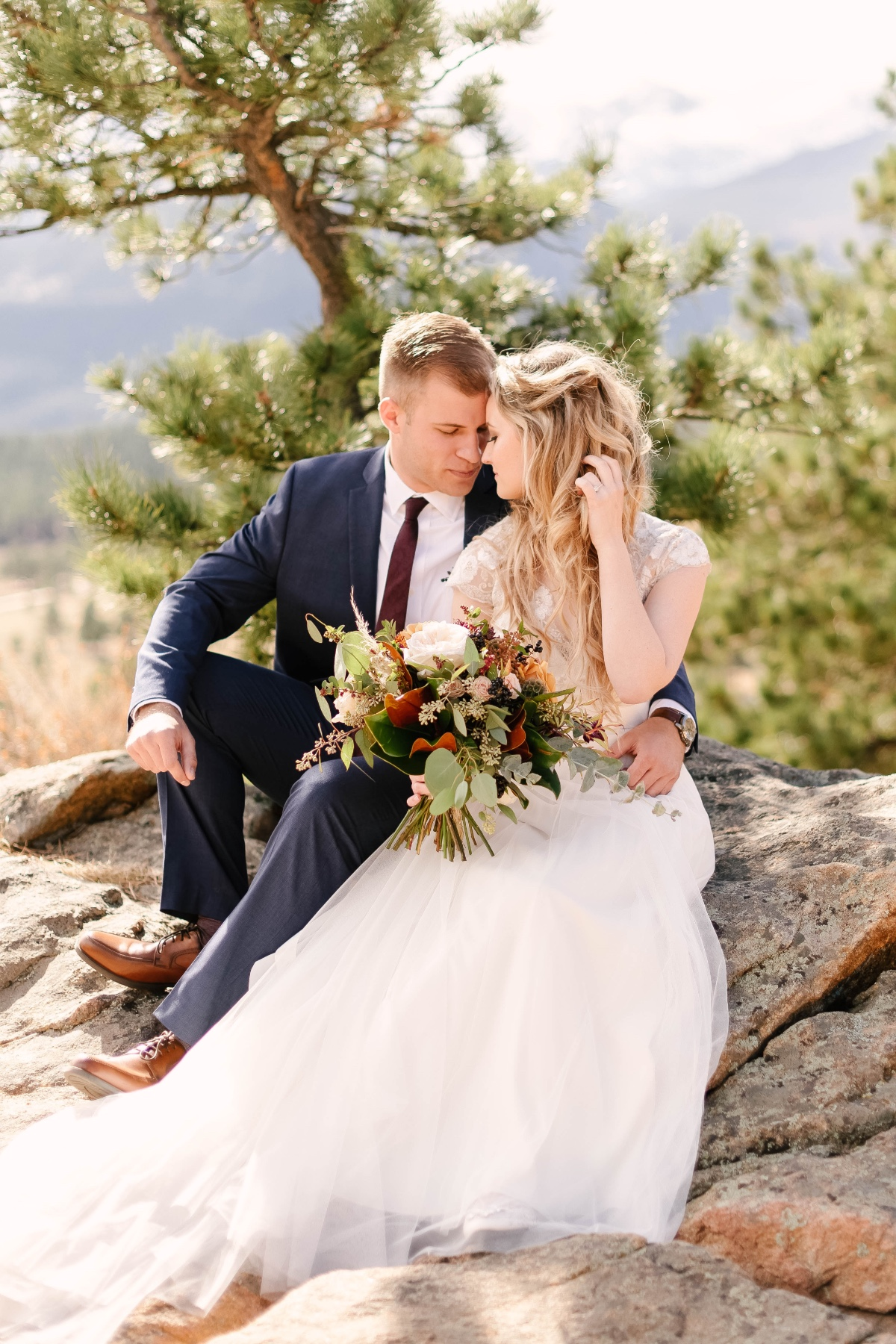 rocky mountain wedding couple