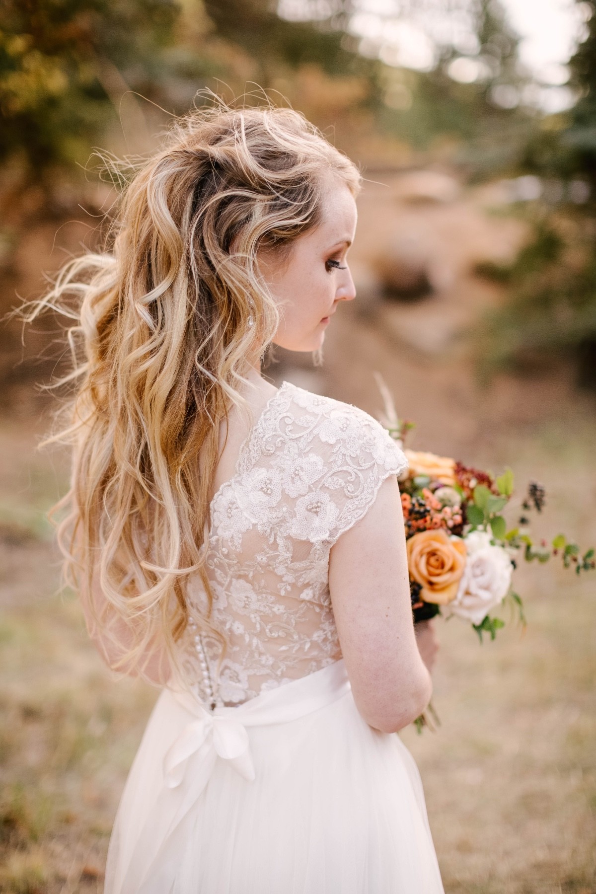 soft beach style waves wedding hair