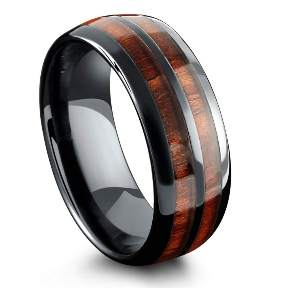 Mens Vintage Wood Barrel Ring. This mens wooden wedding ring is extremely durable and comfortable. It's crafted out of high tech ceramic