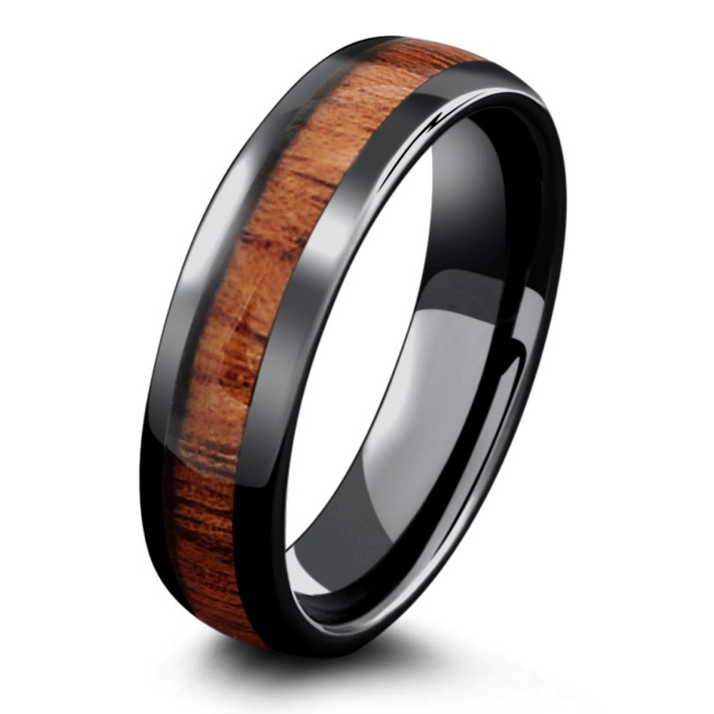 This rustic wood men's wedding ring is perfect for the man who enjoys the great outdoors. Inlaid with genuine koa wood and crafted