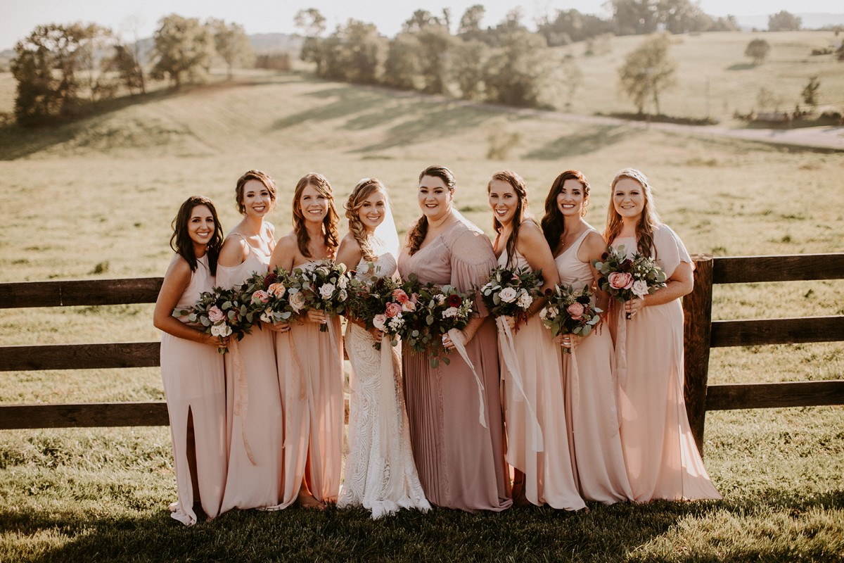 Chic bridesmaids in blush