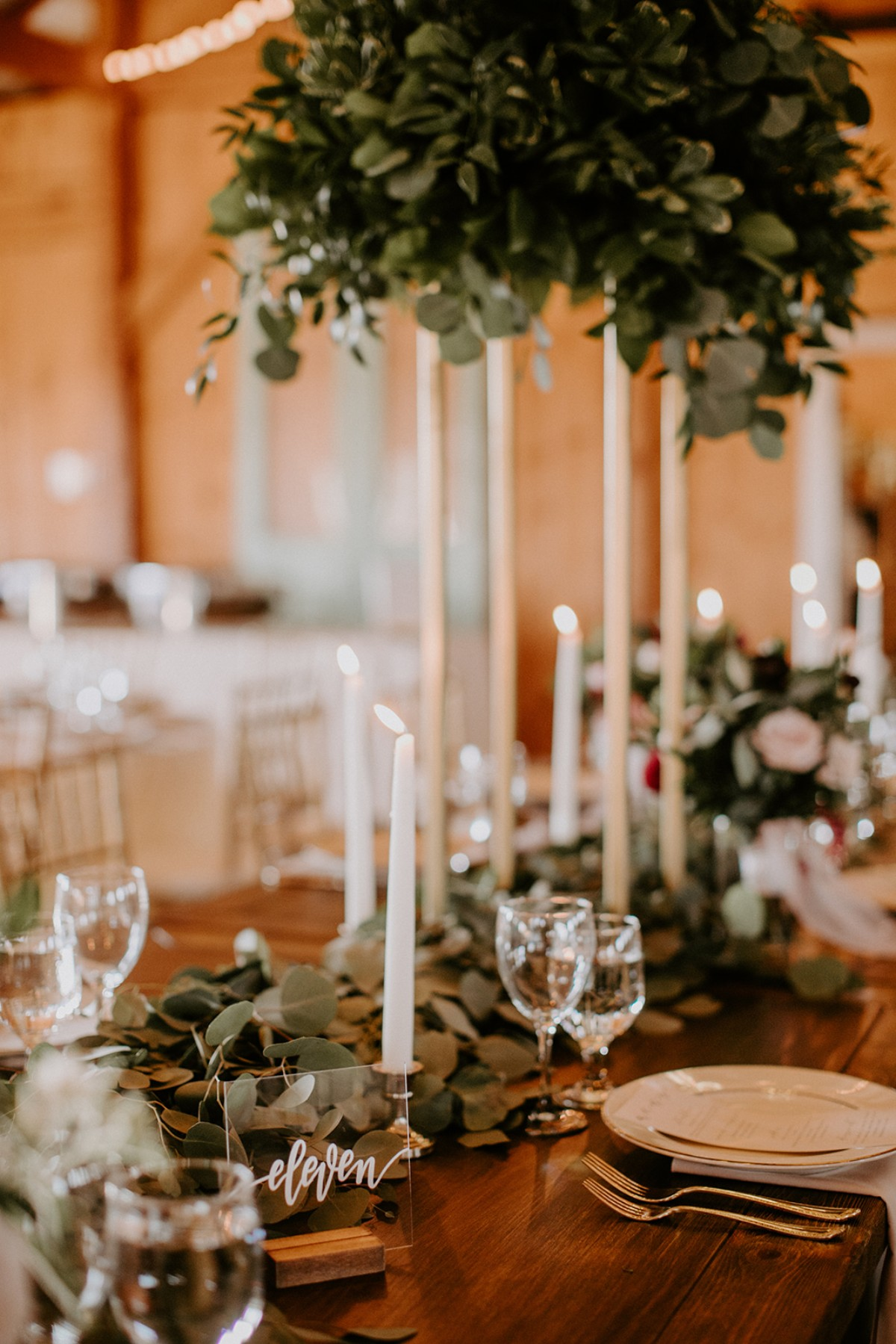 Greenery and candles centerpiece