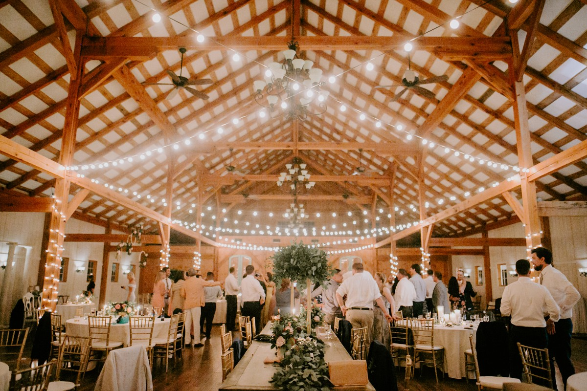 beautiful indoor barn reception