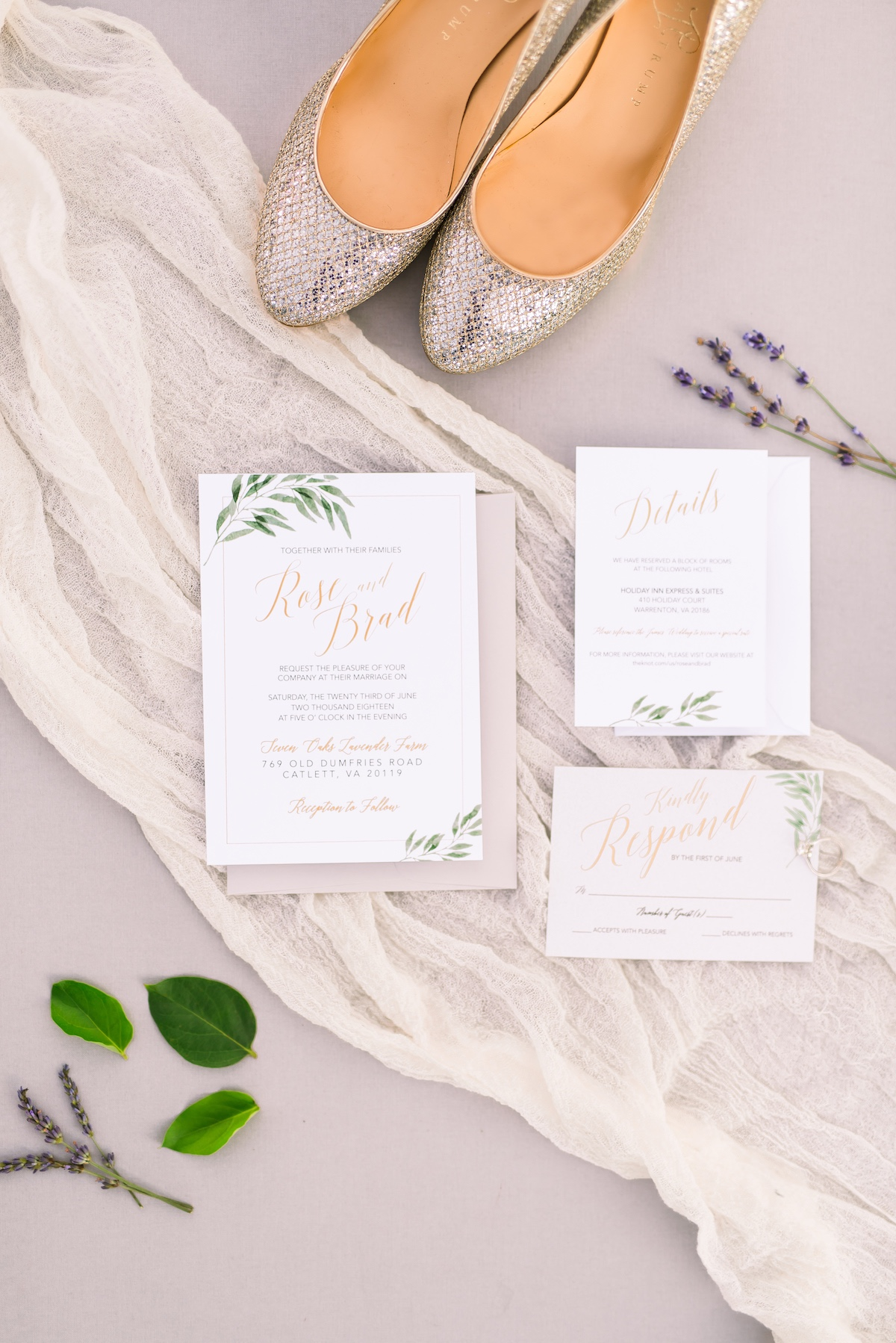 Greenery invitation suite