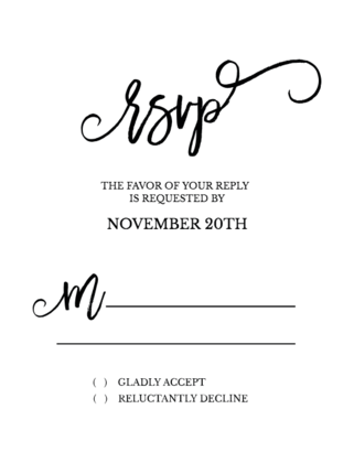 Romeo + Juliet Free Printable Wedding RSVP