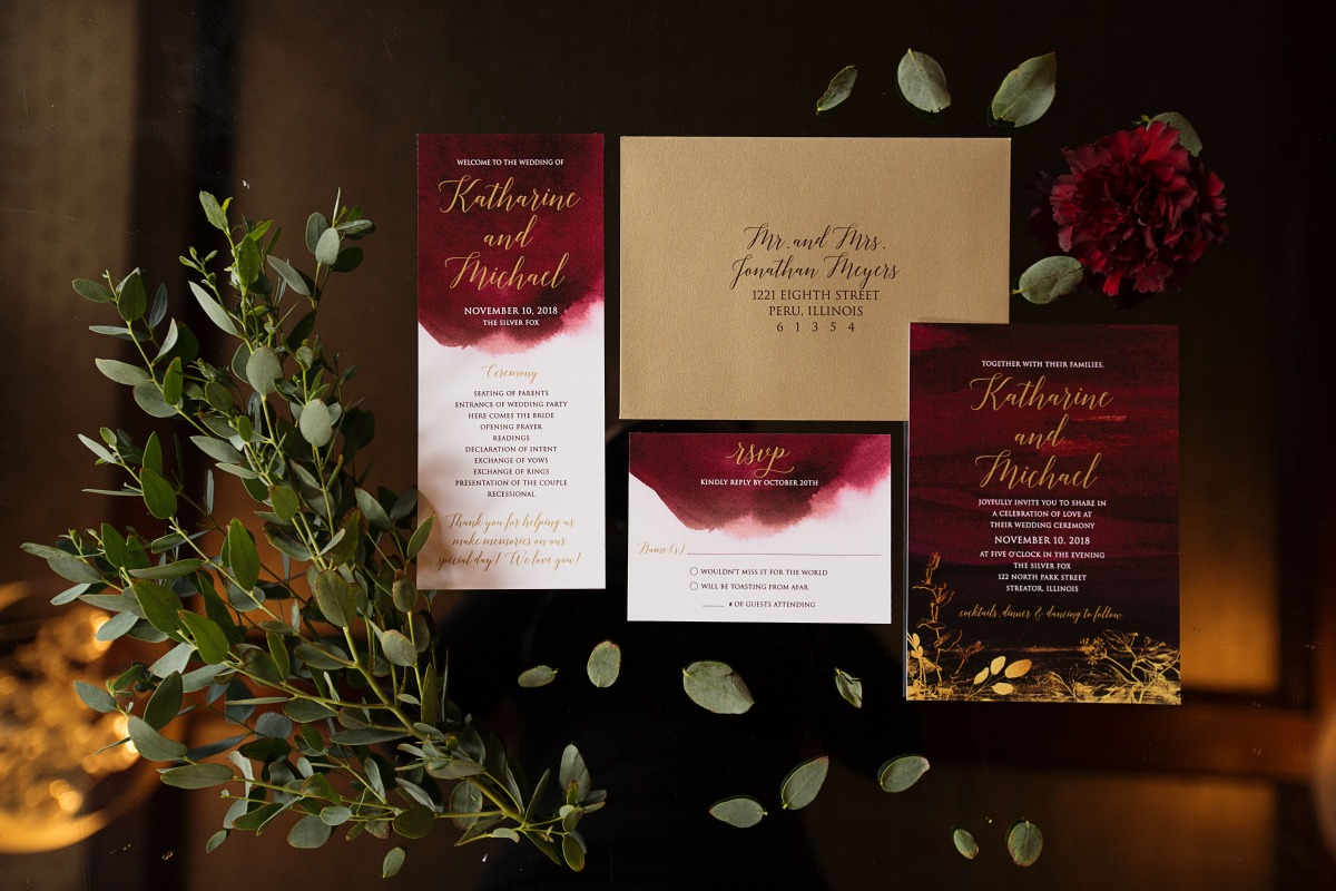 deep red watercolor wedding invitation suite