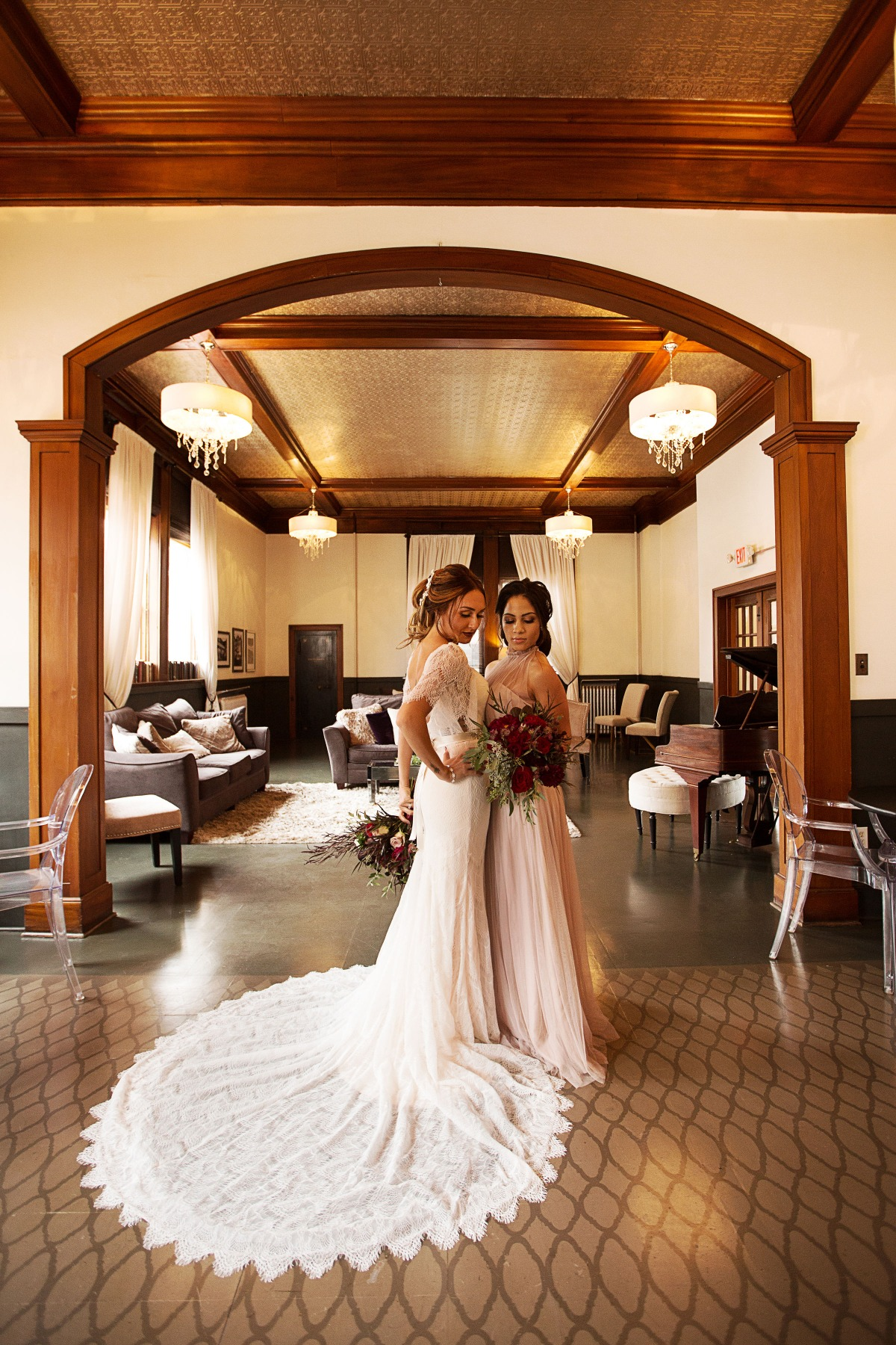 bride and maid of honor at Silver Fox venue