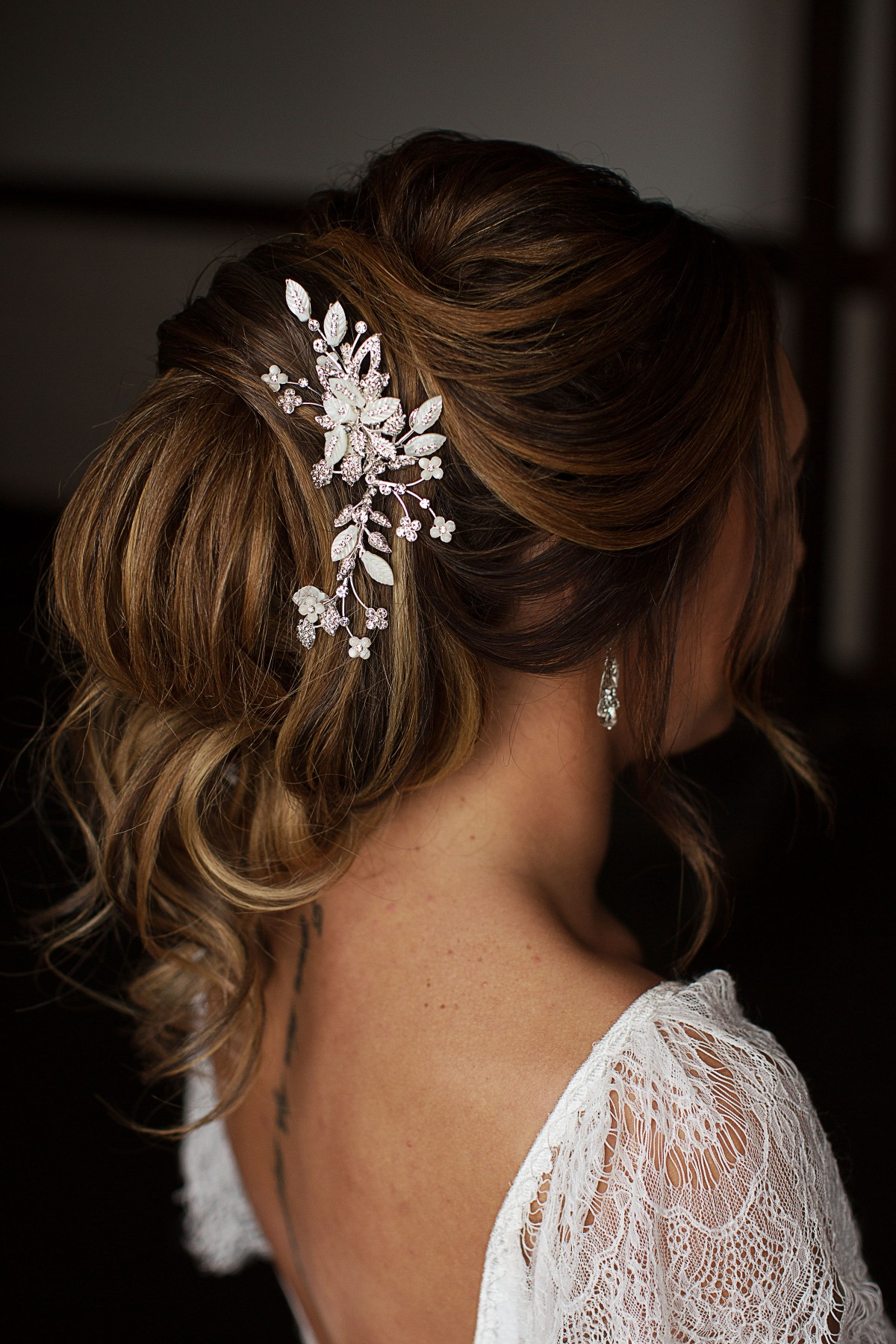 loose updo wedding hair idea