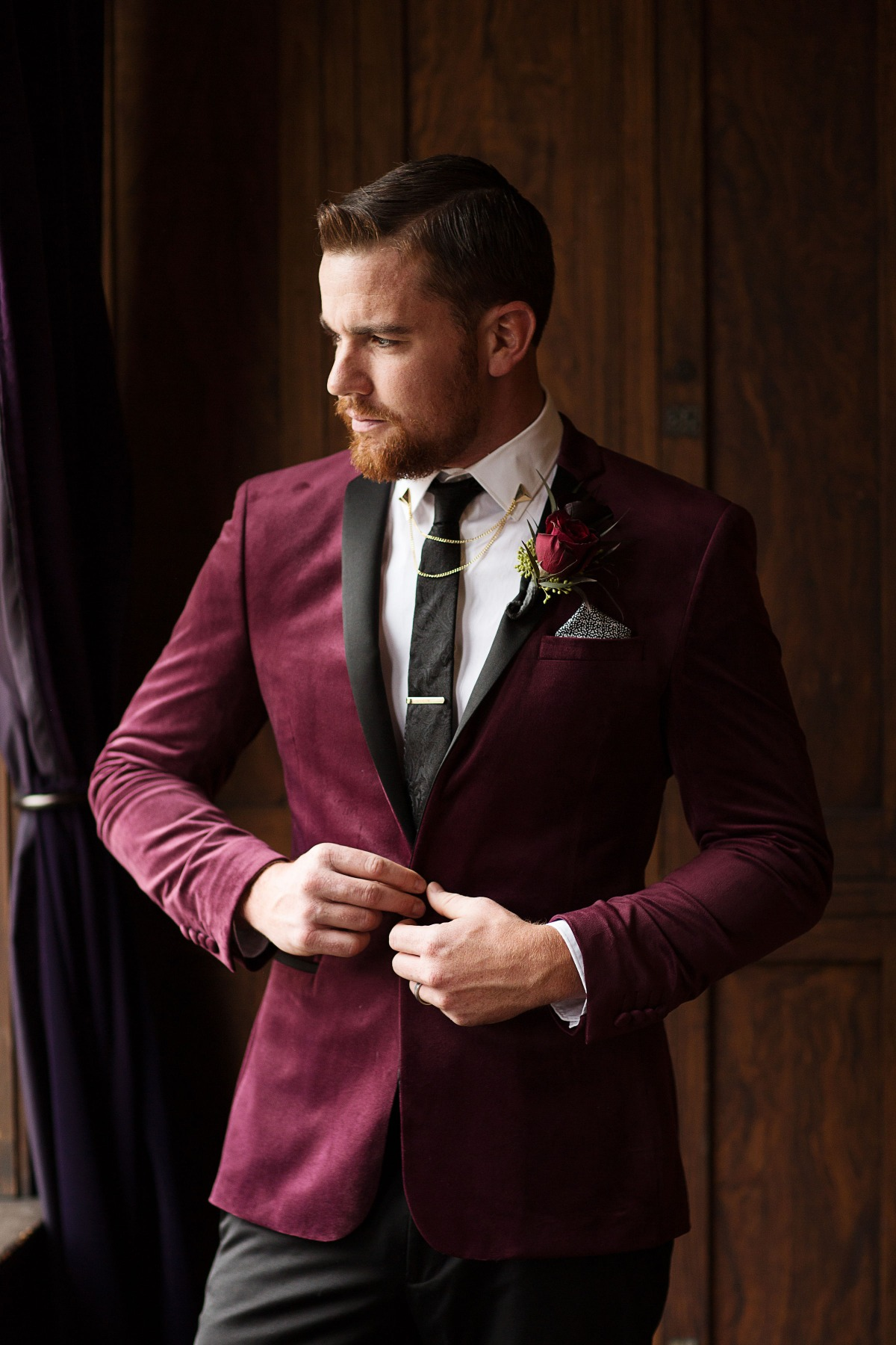 winter wedding groom style