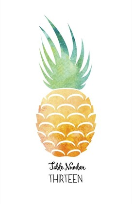 Pineapple Suite Free Printable Wedding Table Number