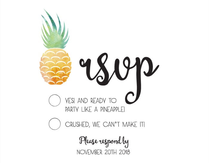 Print: Pineapple Suite Free Printable Wedding RSVP