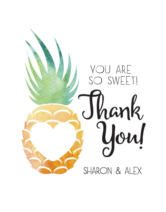 Print: Pineapple Suite Free Printable Wedding Thank You Card