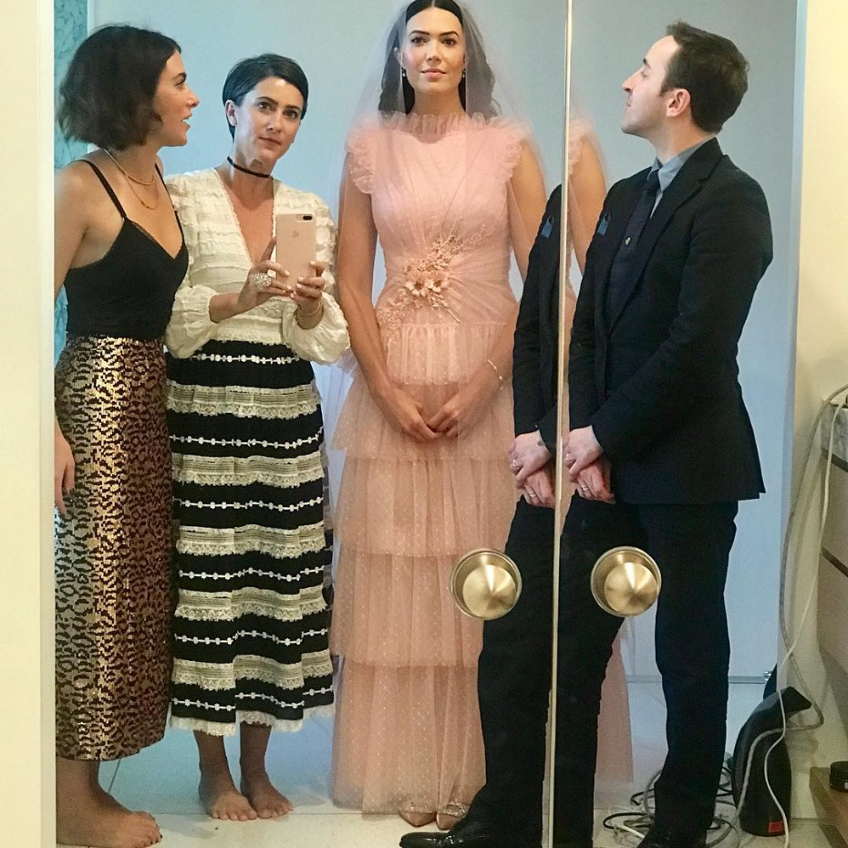 Mandy Moore Wearing Custom Rodarte on Wedding Day with Friends