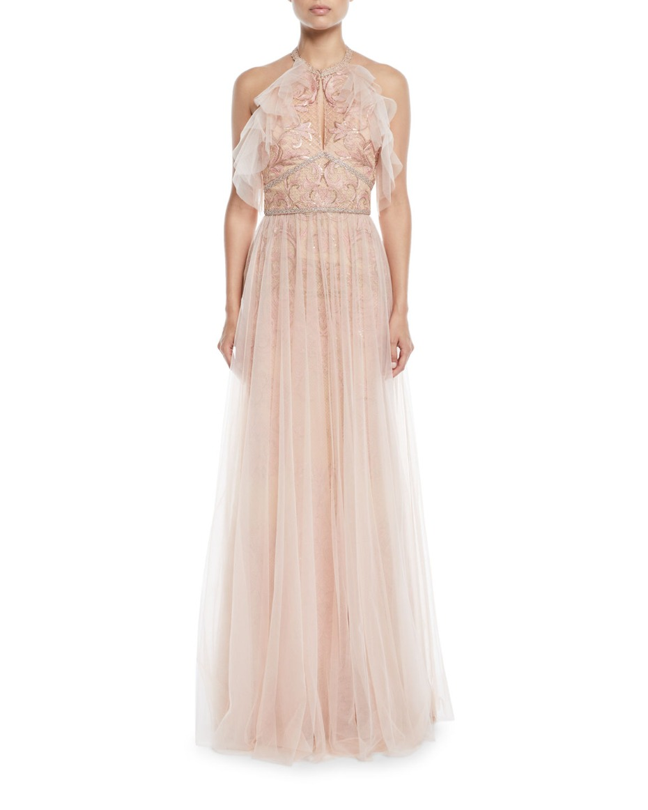 Marchesa Notte Embroidered Halter Tulle Gown