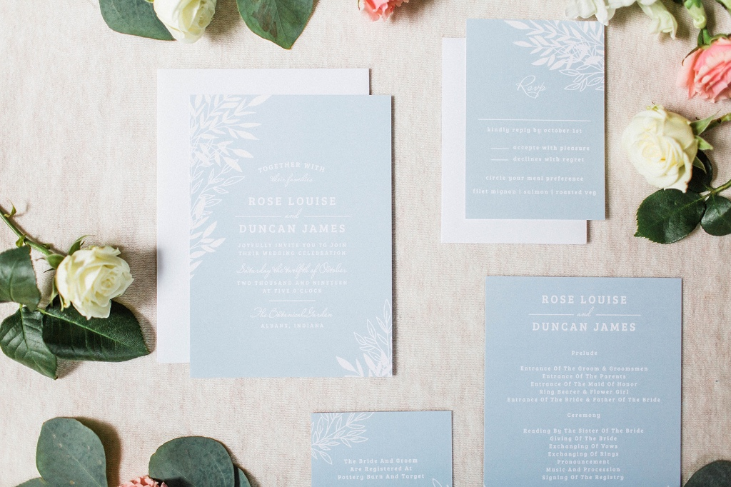 Have your guests swooning before your nuptials with our Lakeside Leaves Wedding Invitations suite!