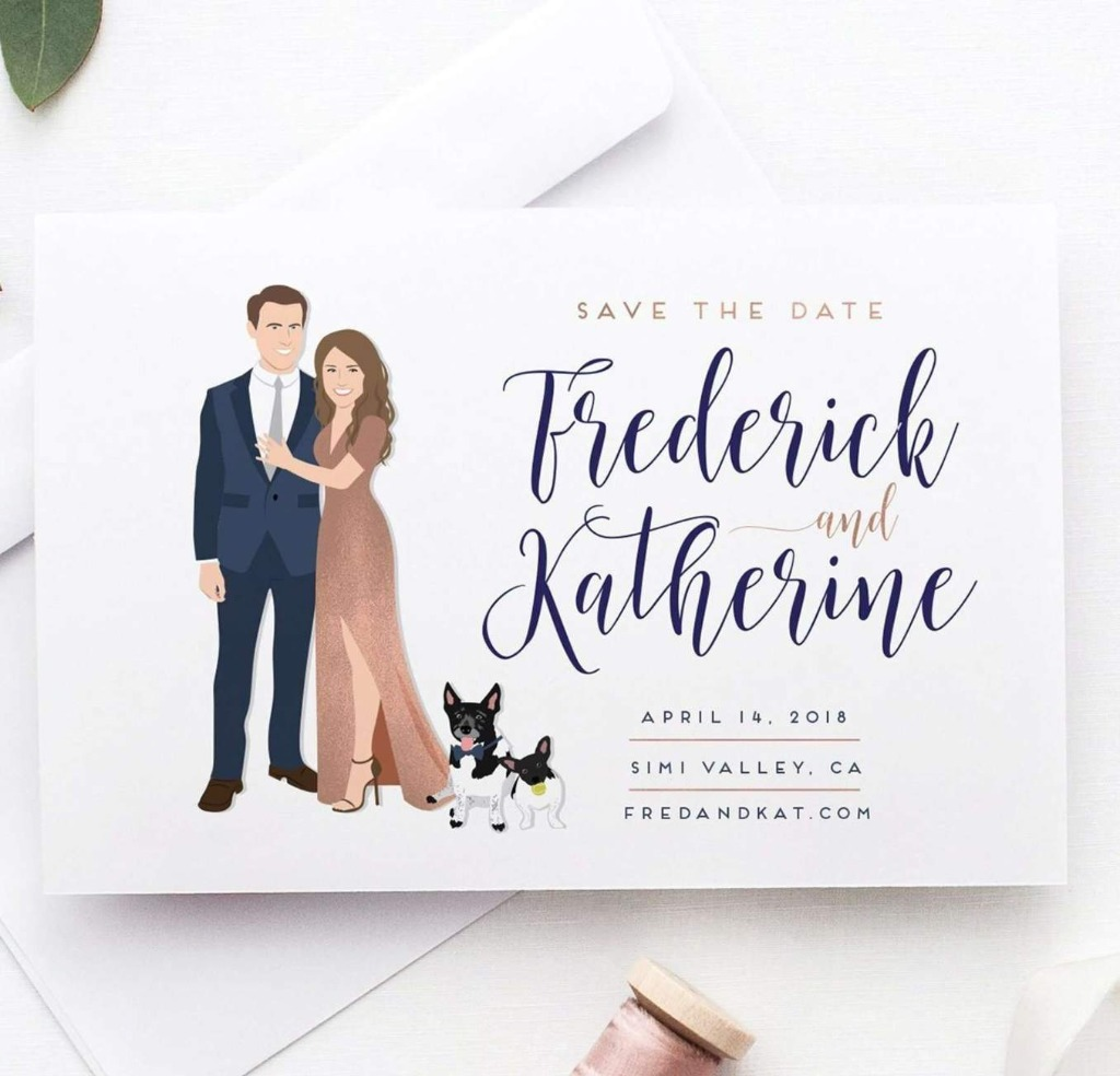 This awesome Wedding Save the Date with Couple Portrait from Miss Design Berry is the best first impression of your big day you can
