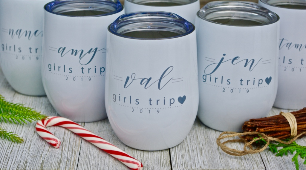 The best bridesmaid gifts! Sublimated (not vinyl) on tumblers, each wine cup is personalized for your girls. Message us with your