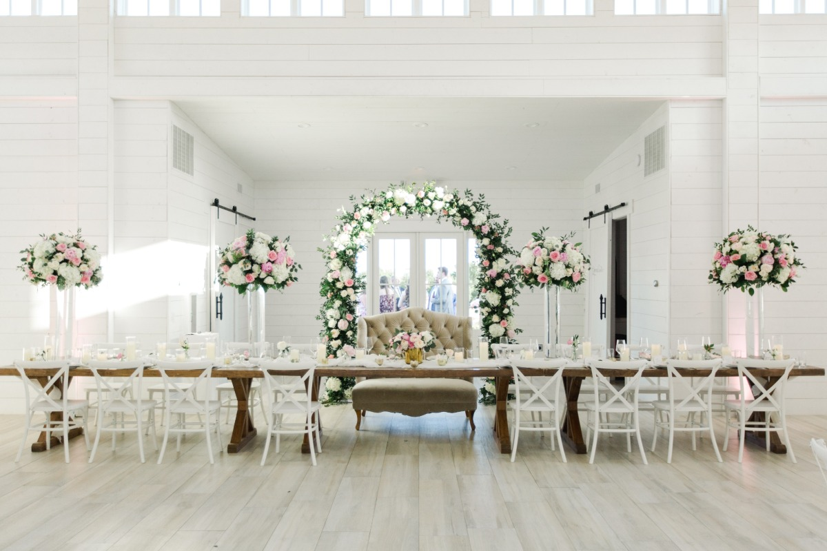 White and blush reception
