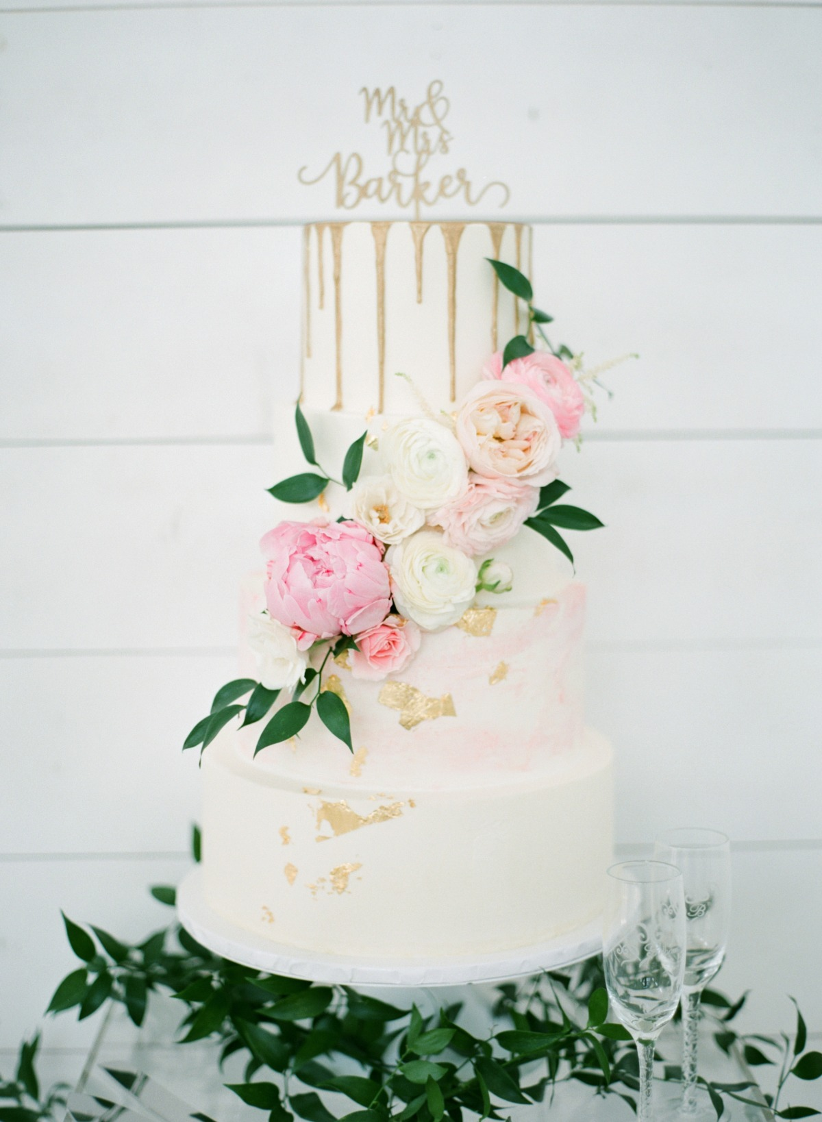 White, gold and blush wedding cake