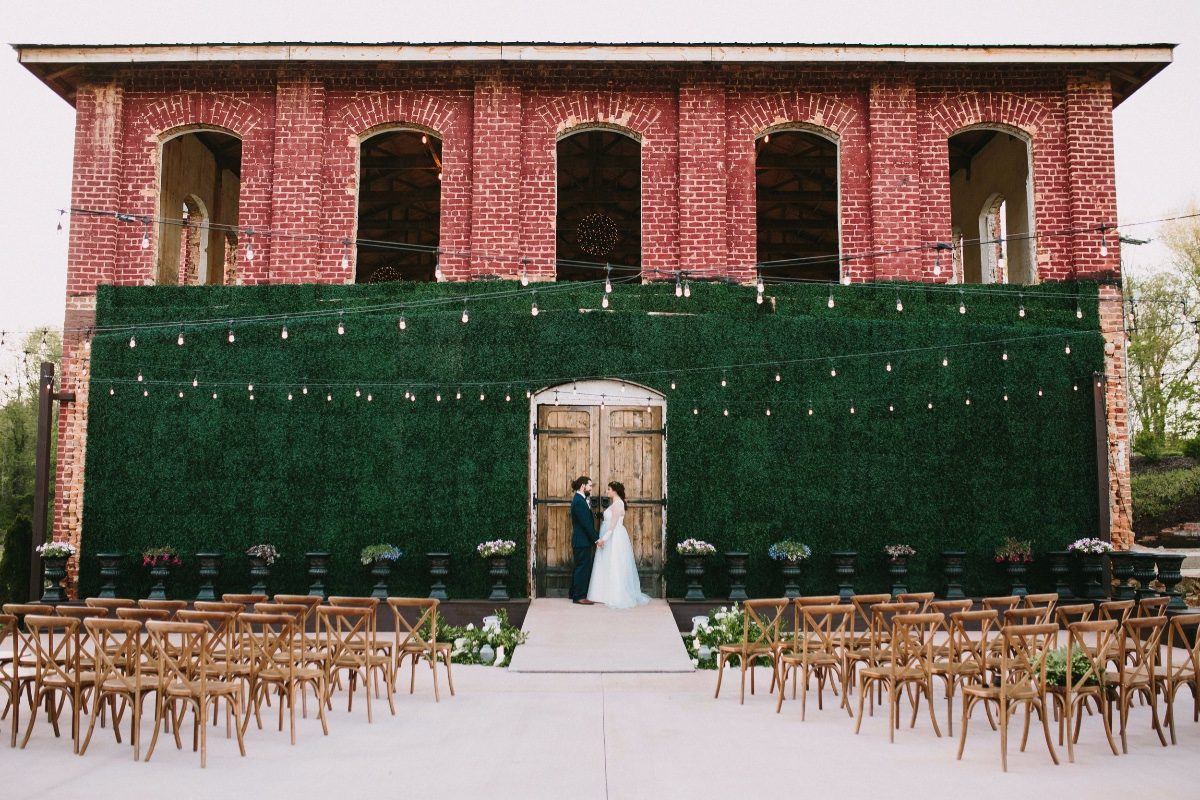 outdoor wedding ceremony at Providence Cotton Mill