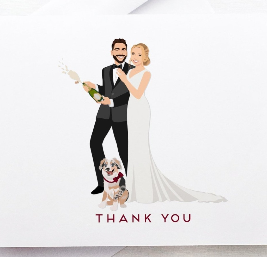 If you're on the hunt for thank you cards, look no further! These Thank You Cards with Wedding Portrait from Miss Design Berry are