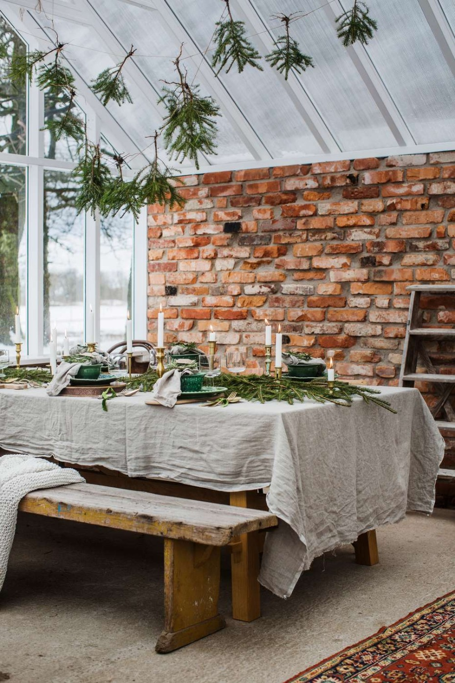 scandi green and grey table