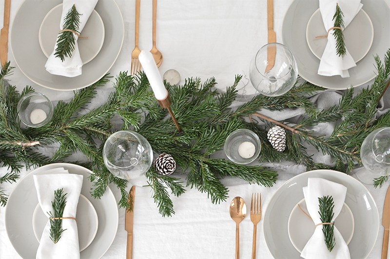 simple and chic gold and pine table