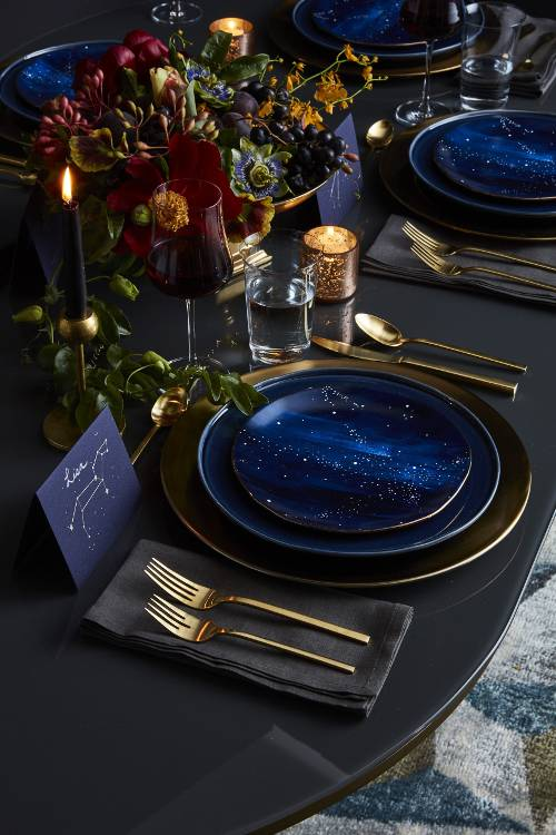 gold and mysterious constellation plates