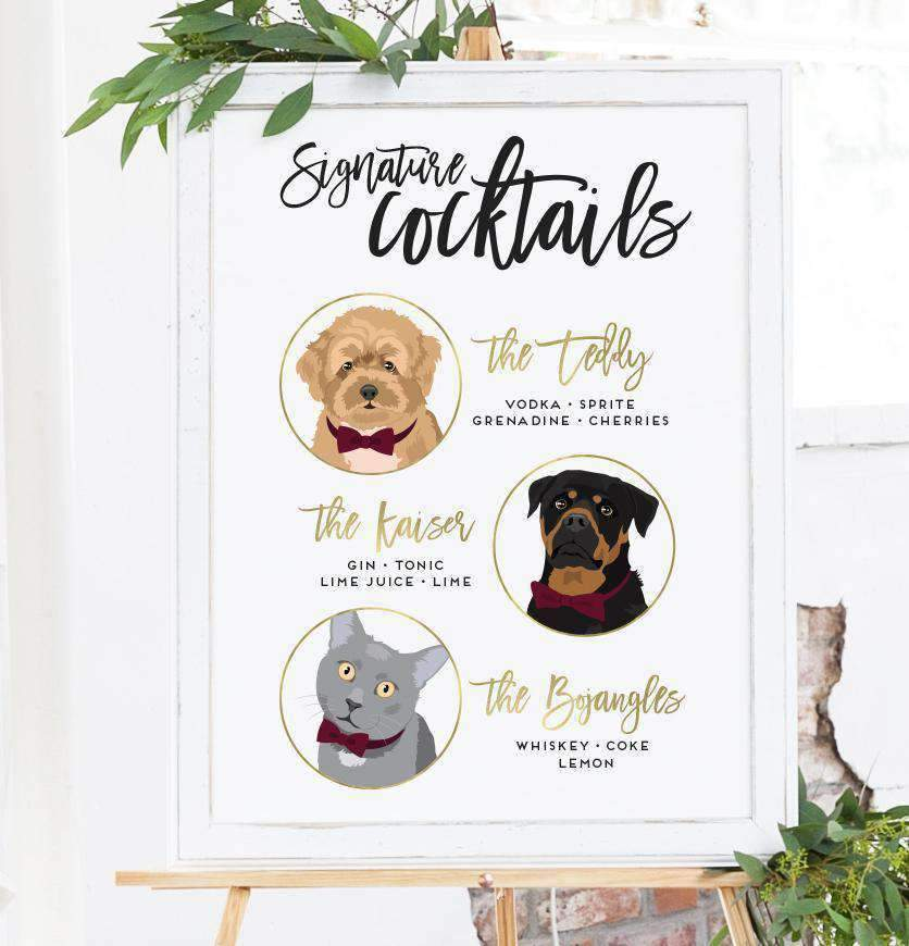 This amazing Signature Cocktail Wedding Sign with Three Portraits from Miss Design Berry allows your pets to be a part of your big