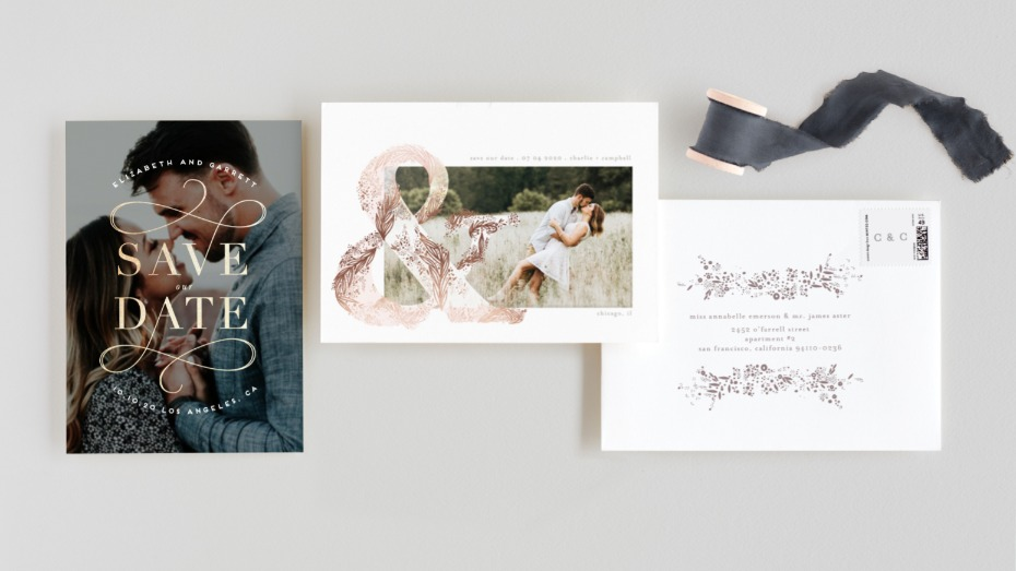 Minted Rose Gold Foil Pressed Save the Date
