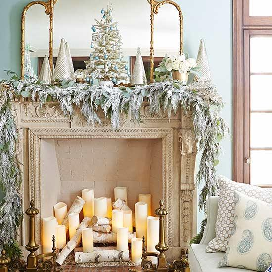 Candle Filled Fireplace