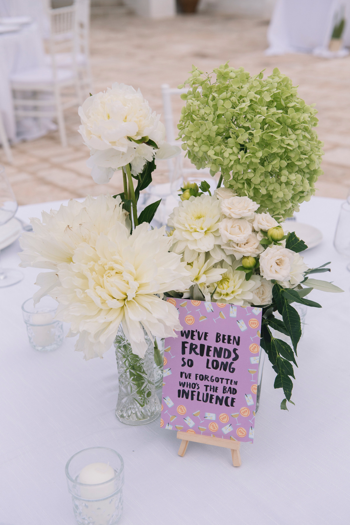 wedding tables with meme's for names