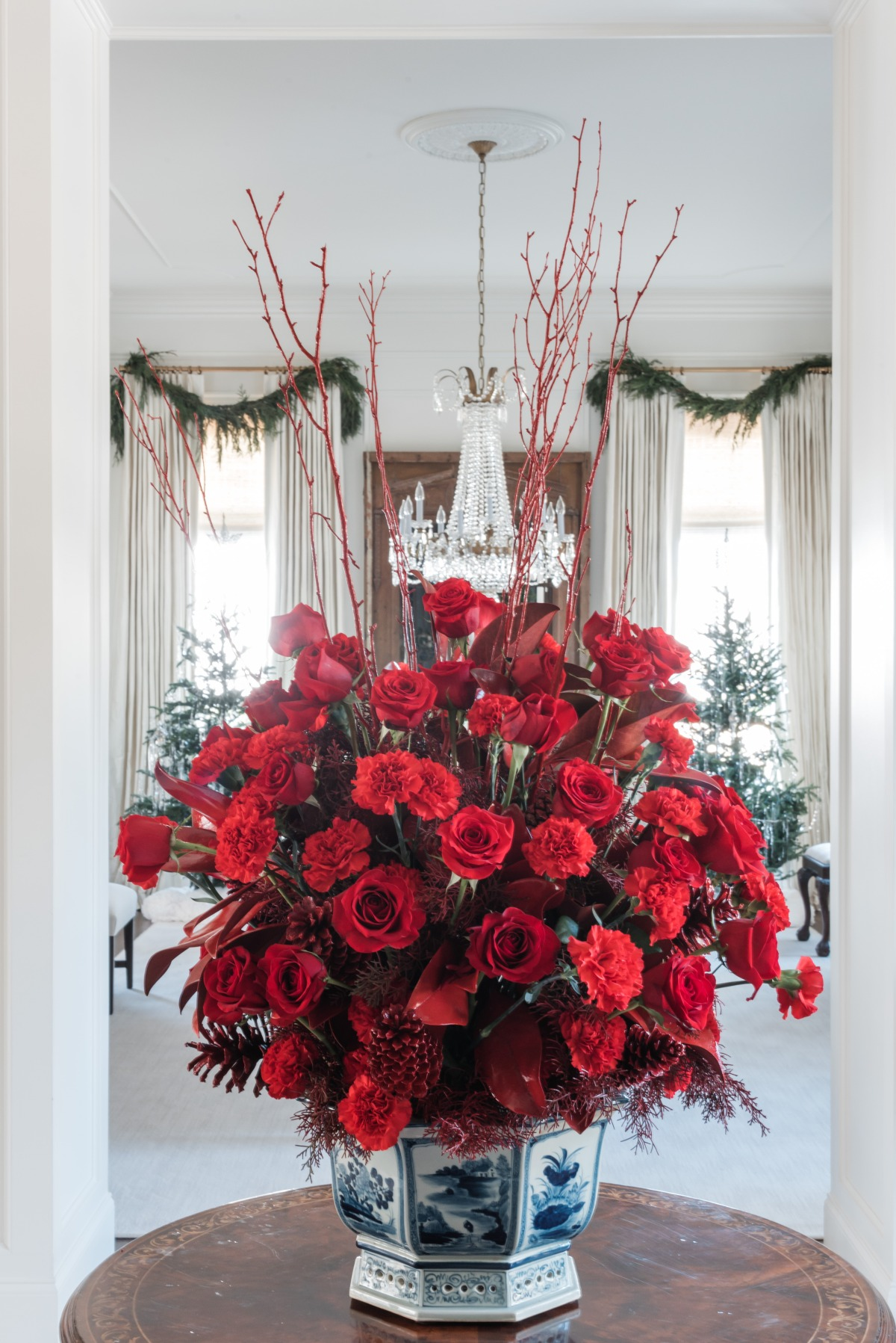 Christmas inspired floral arrangement