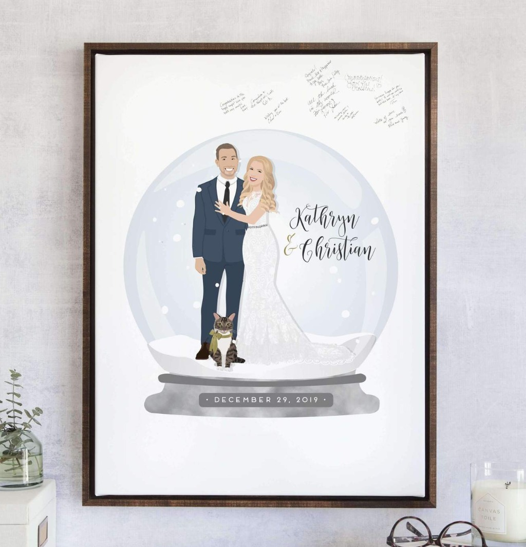 We love a good winter wonderland here at Miss Design Berry, and this Winter Wedding Guest Book Alternative with Snow Globe Portrait