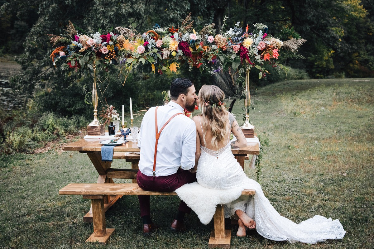 wedding table with floating floral centerpiece