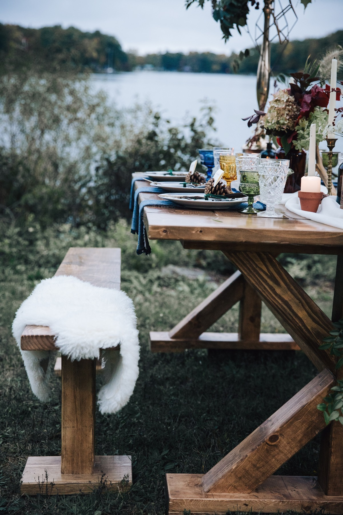 rustic bench style wedding seating