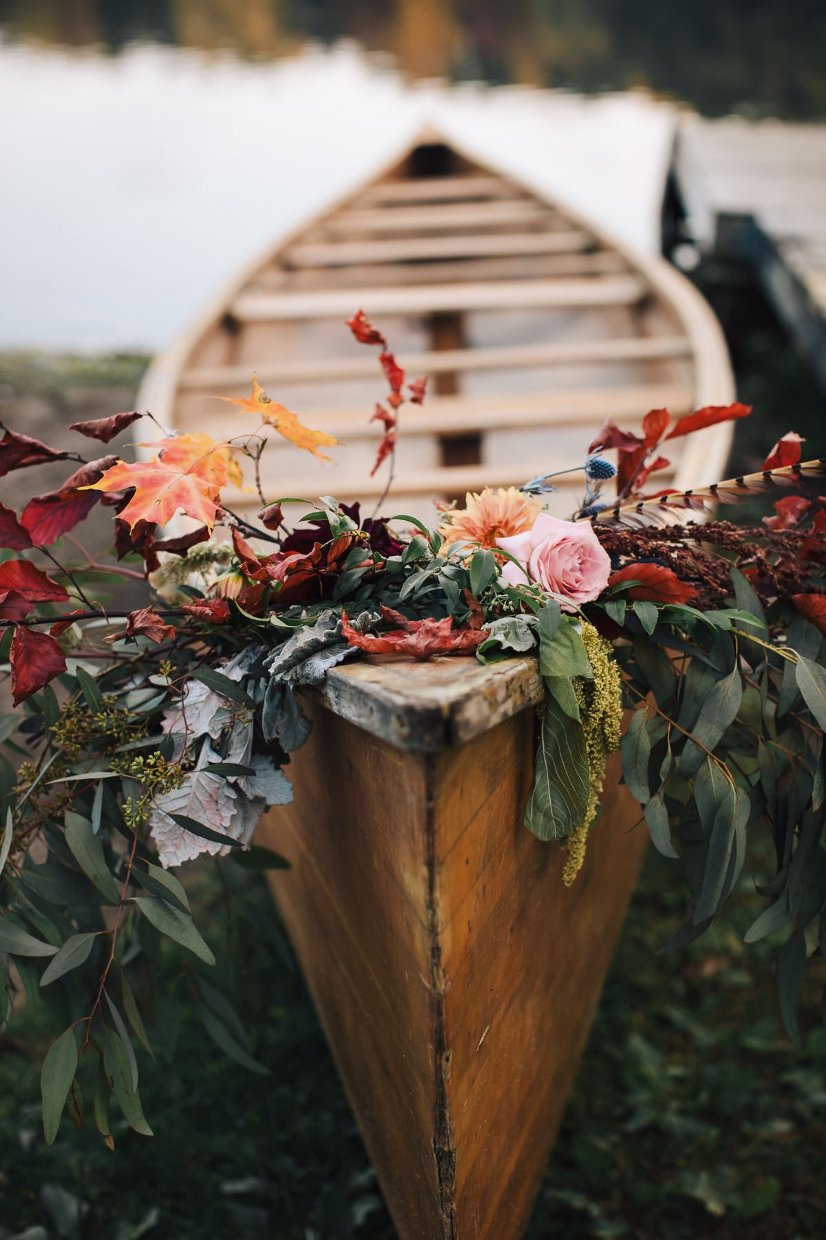 fall floral accented wedding canoe