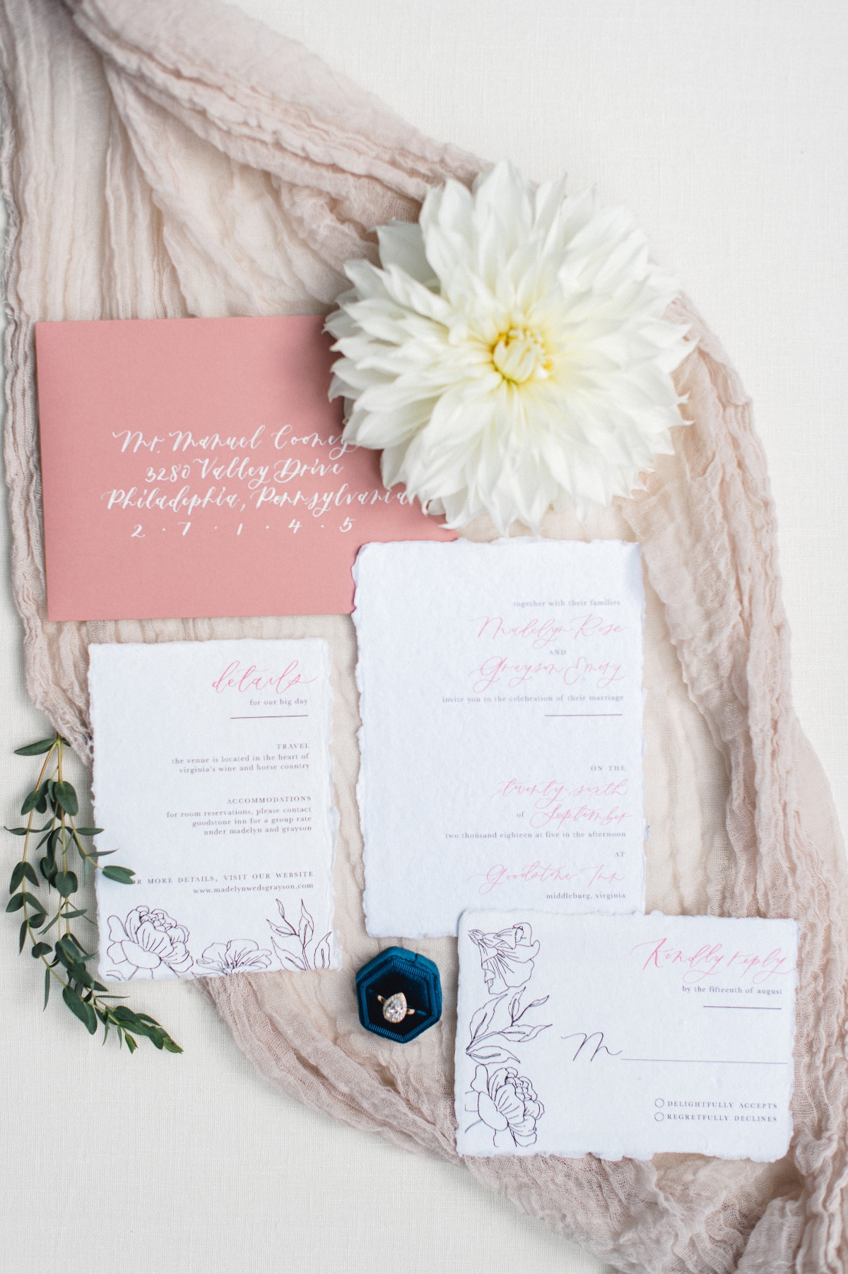 Mauve wedding invitations