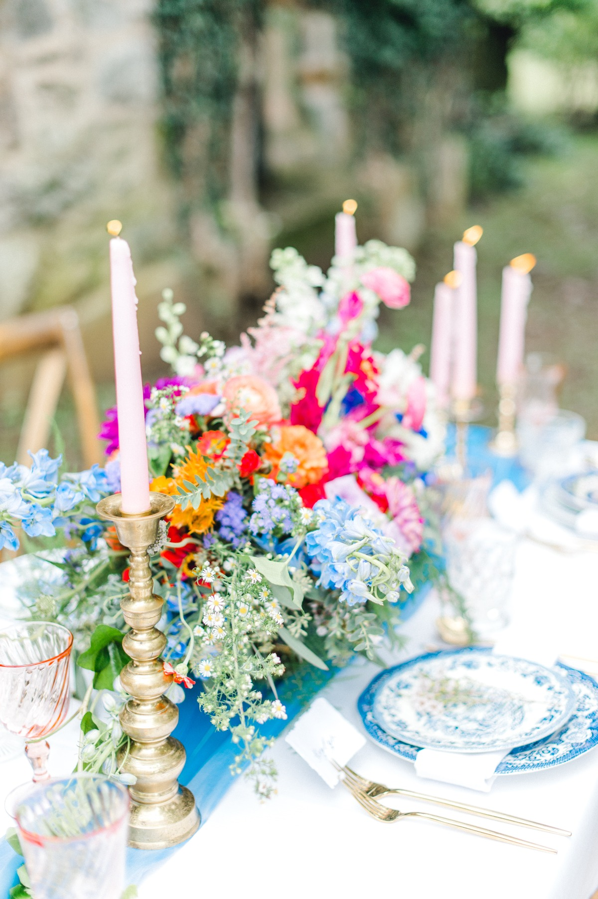 Colorful floral wedding centerpiece
