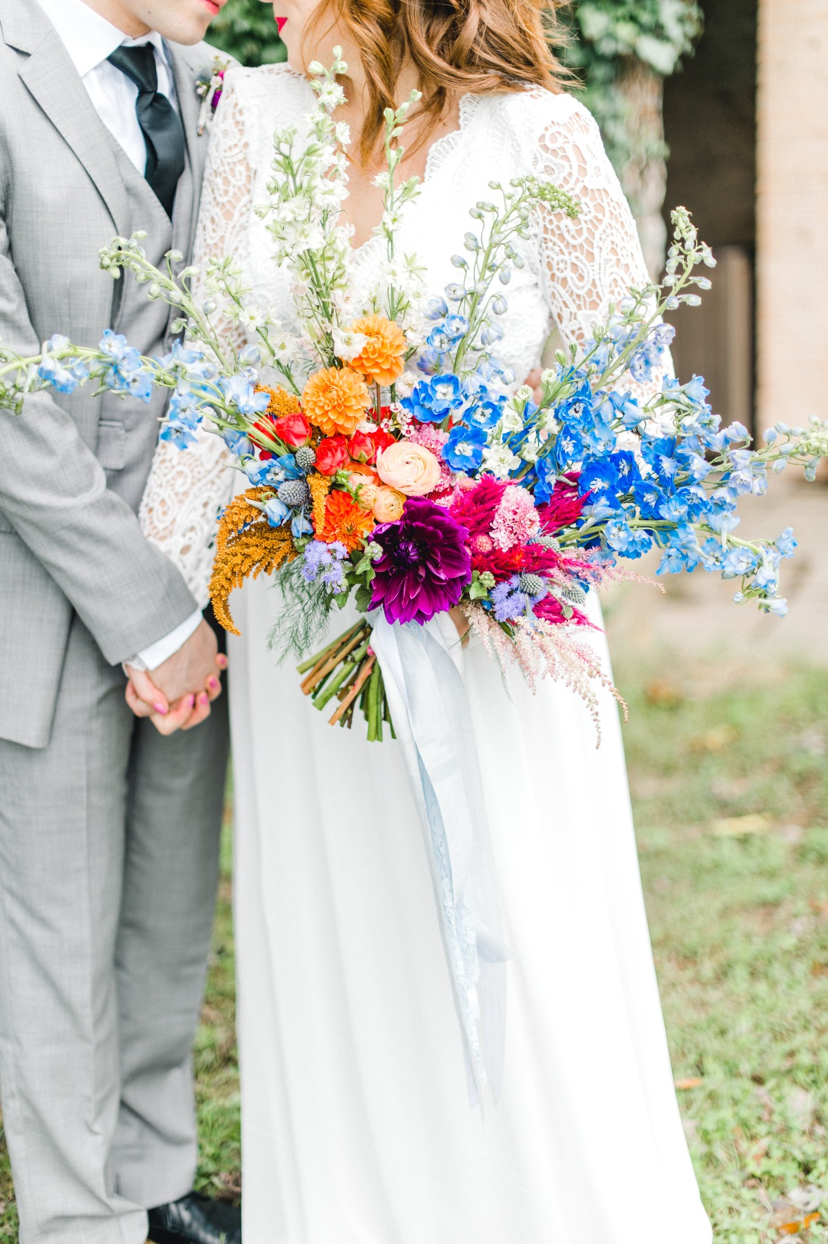 Color blocked wedding bouquet