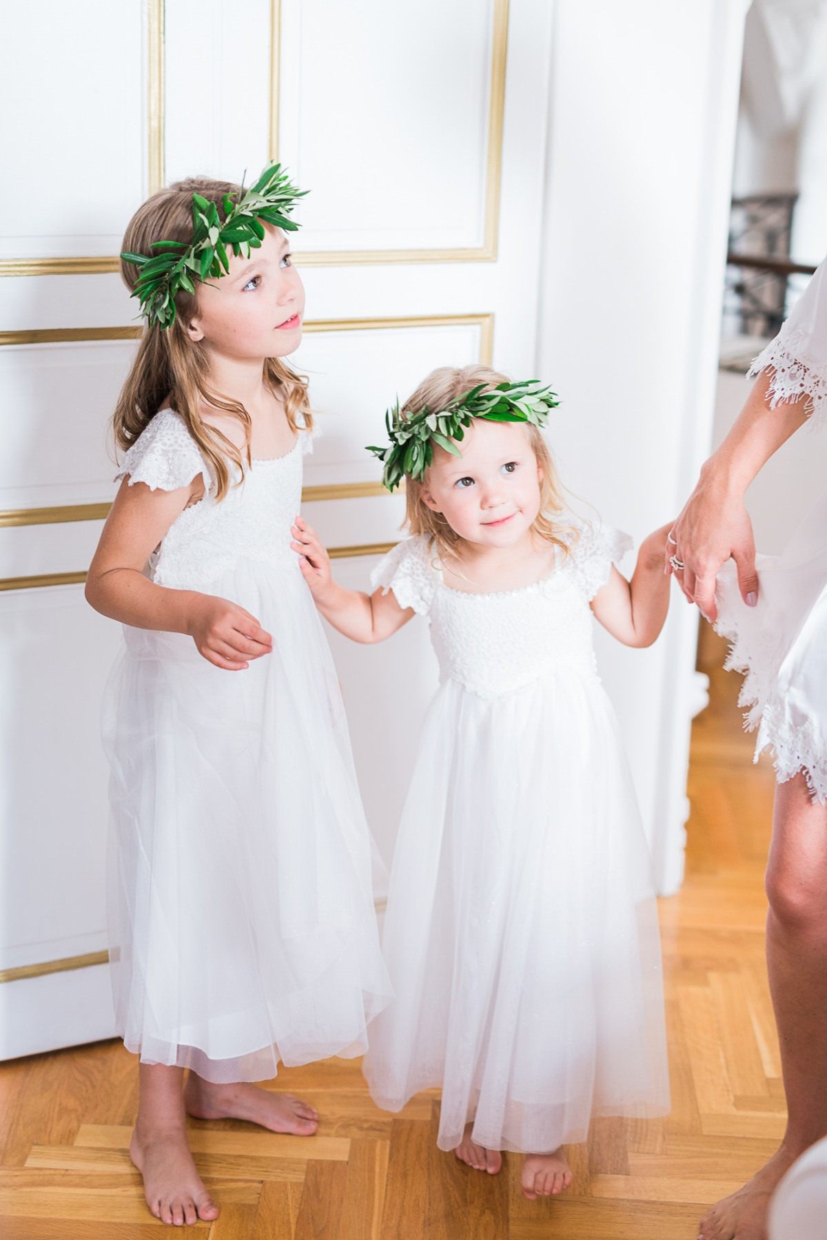 Flower girls with greenery crowns