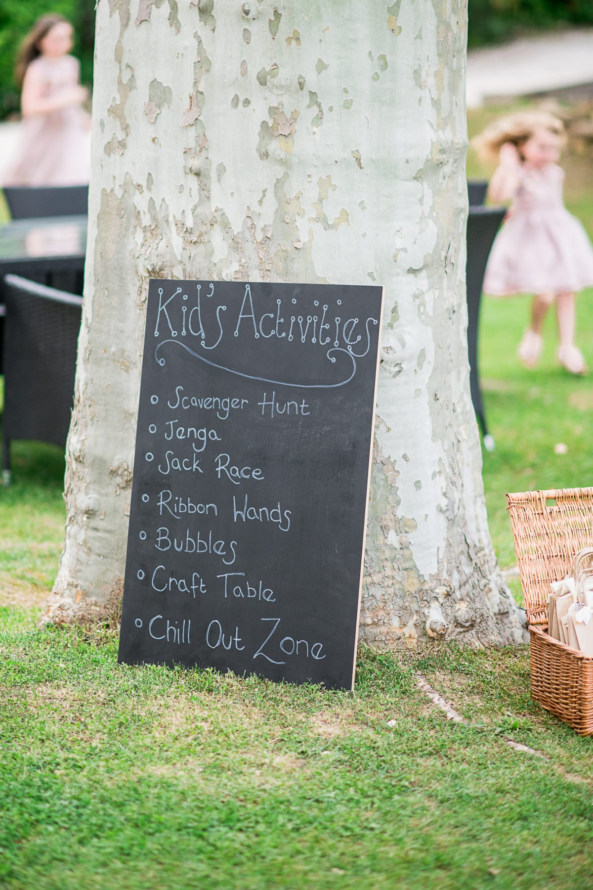 Kids activity board for a wedding