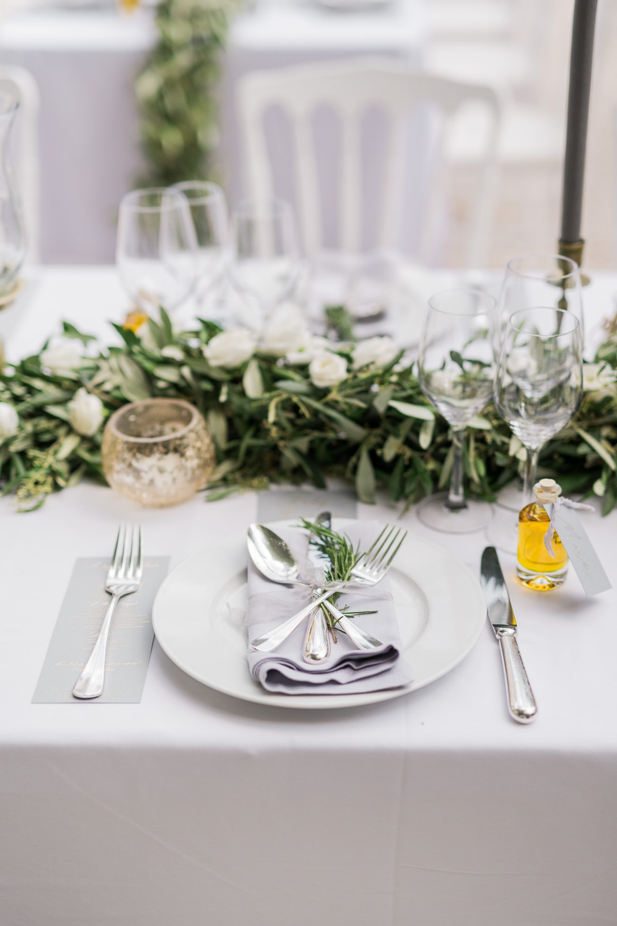 Add lots of greenery to your reception table